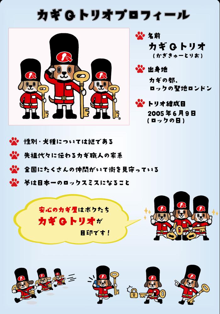 カギの110番・カギの救急車グループ キャラクター「カギQトリオ」